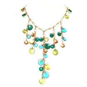 Green, Teal & Gold Dangle Necklace